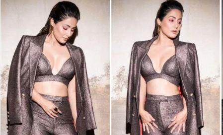 Hina Khan looks ravishing in metallic pantsuit