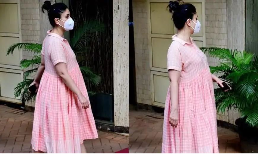 Kareena Kapoor Khan Once Again Nailed The Maternity Fashion in a Comfy Peachy Pink And White Checkered Dress, See Pics