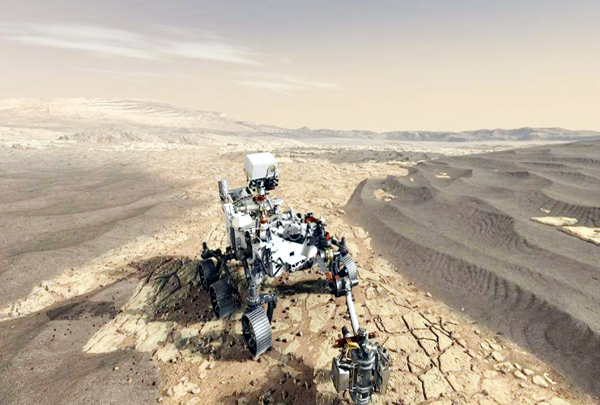 Engineers of NASA install legs and wheels in the vehicle Mars 2020