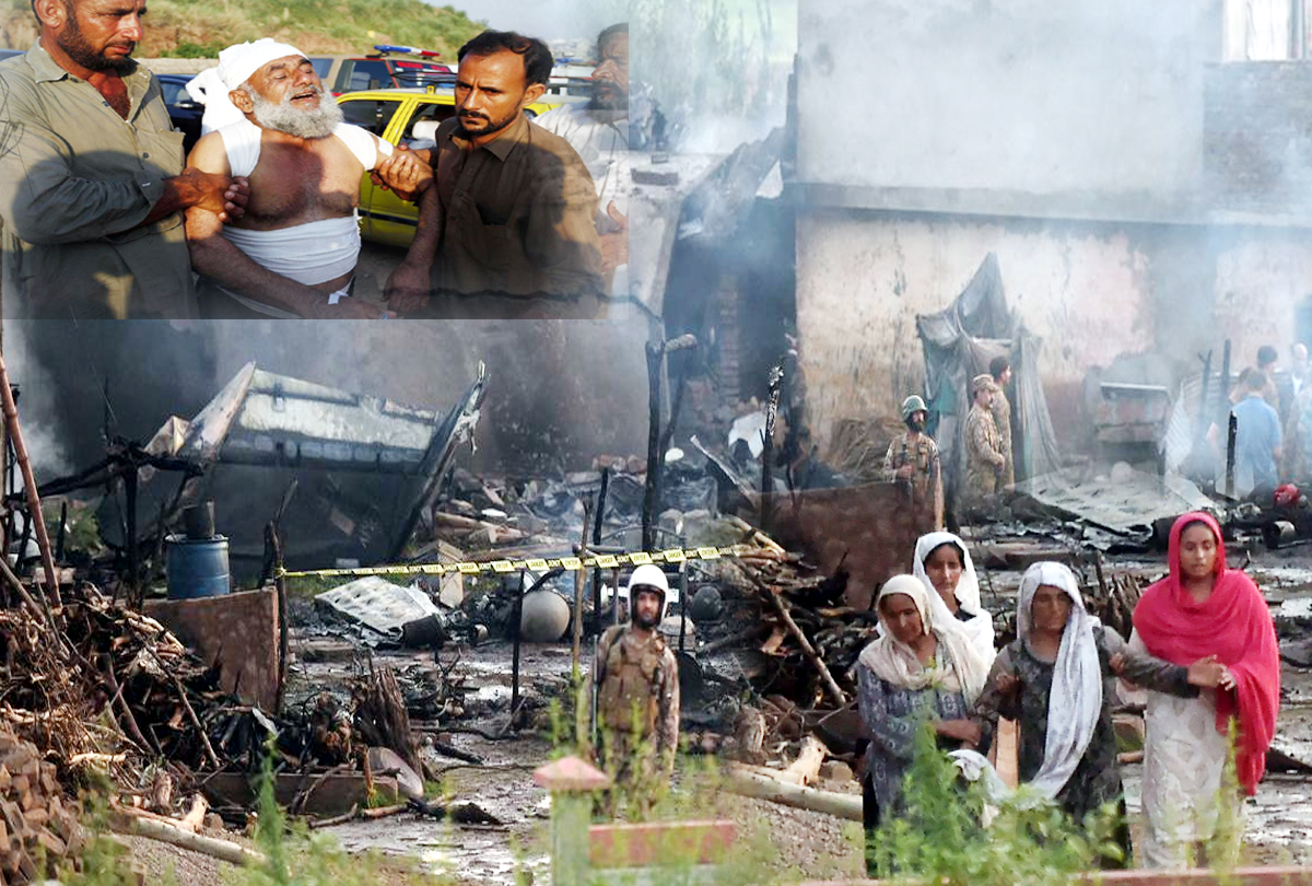 Pakistani military aircraft crash: All 5 crew members, 12 civilians killed into residential area